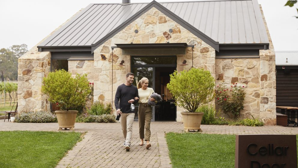 Couple enjoying a romantic getaway at Bendooley Estate in Berrima, Southern Highlands