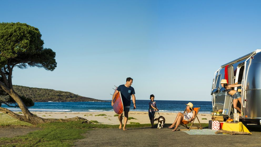 Family caravanning at Merry Beach, Shoalhaven
