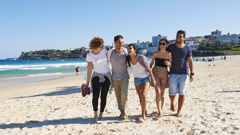 Friends on Bondi Beach