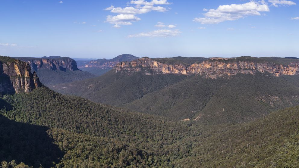 Scenic views across the Grose Valley as viewed from Govetts Leap lookout in the Blue Mountains