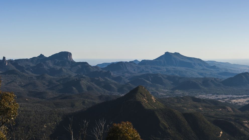 Views across a volcanic mountain range, Warrumbungle National Park