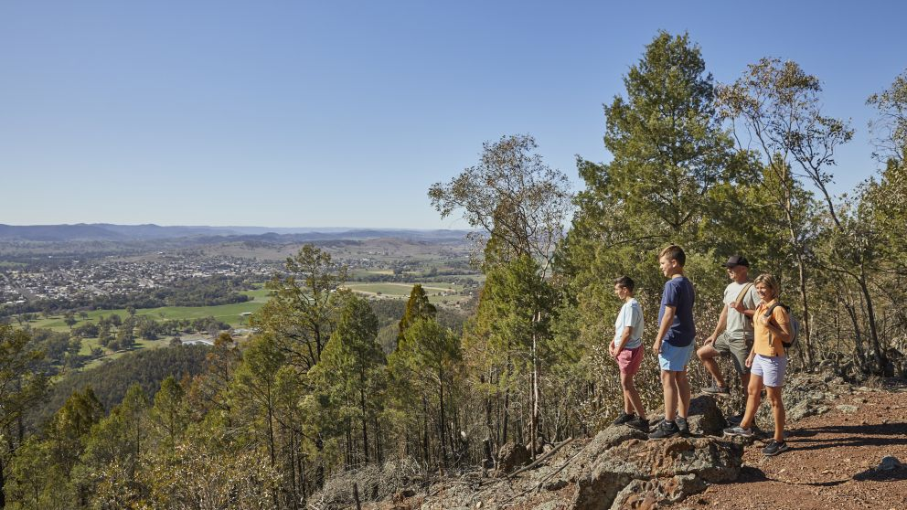 Family enjoying a hike through Mount Arthur Reserve near Wellington, Dubbo, Country NSW