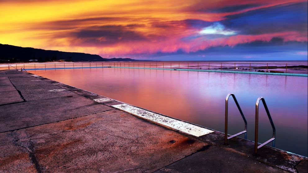 A beautiful sunset at Bulli Rock Pool, Bulli, Illawarra region