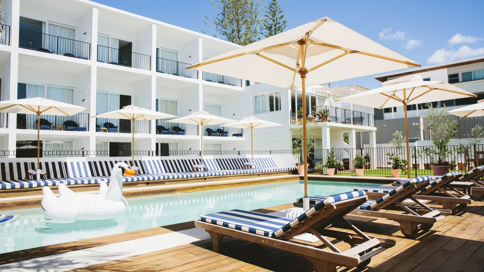 Swimming pool in boutique hotel Halcyon House, Cabarita Beach