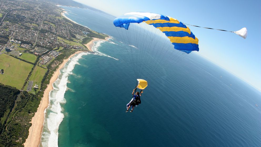 Tandem skydiving above Wollongong beaches, with Skydive Sydney, Wollongong