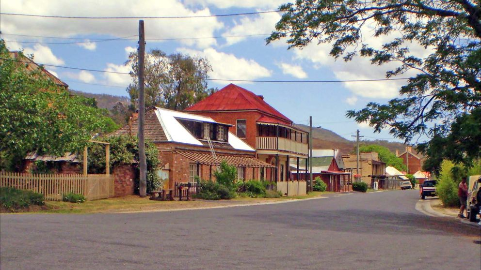 View of a heritage streetscape in Sofala, near Bathurst