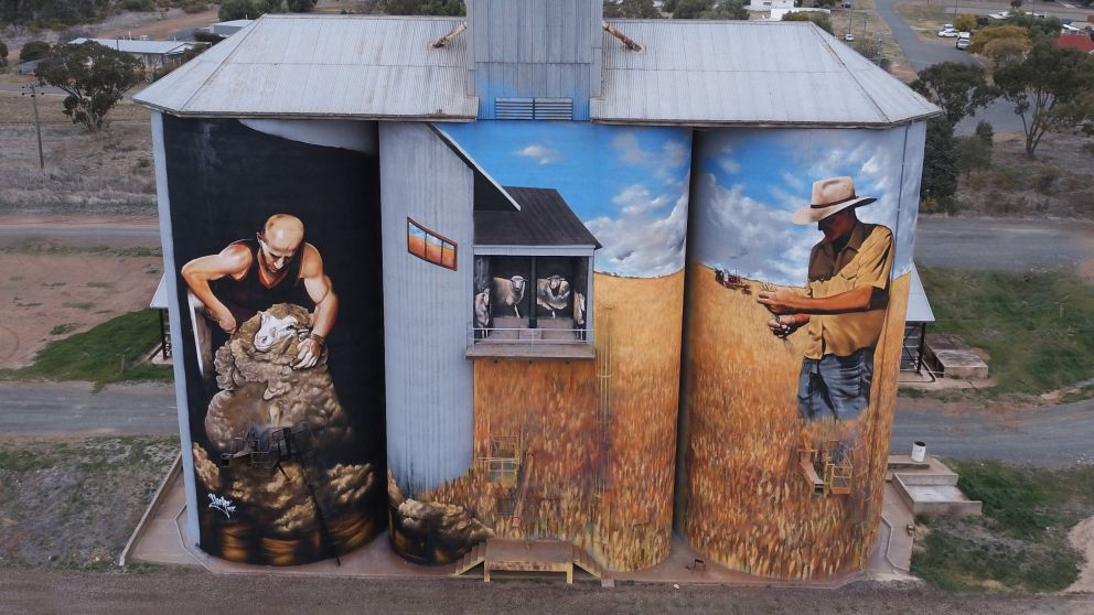Weethalle Silos Mural in West Wyalong, Riverina, Country NSW