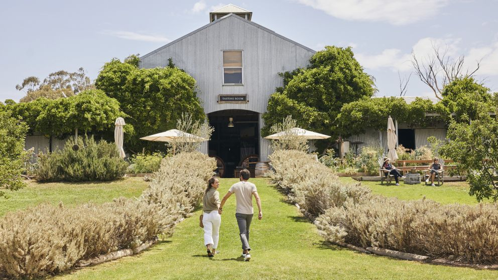 Couple enjoying a visit to Lowe Wines, Mudgee, Country NSW