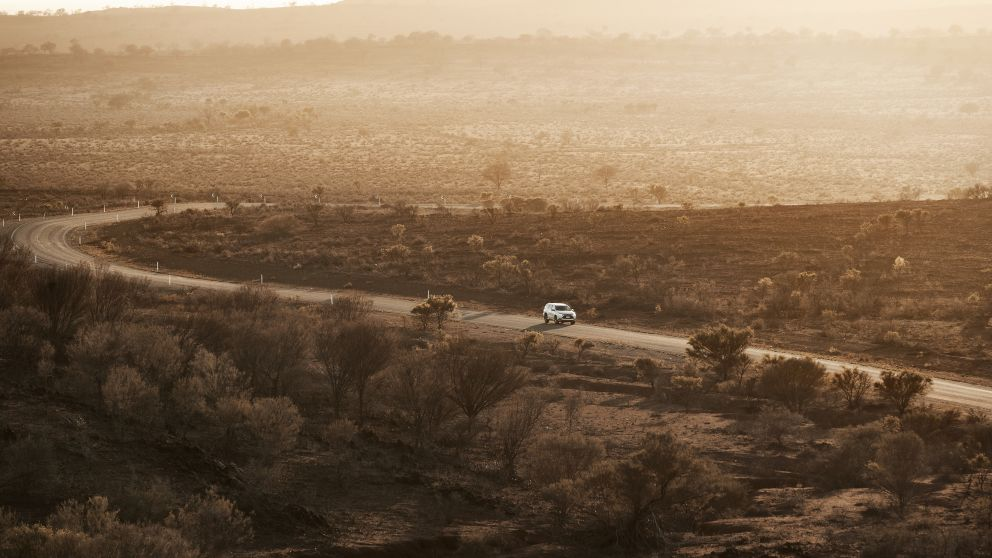 Car driving through the Outback near Broken Hill