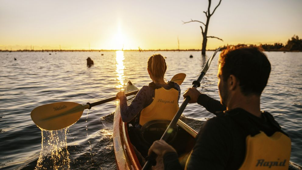 Kayaking along Lake Mulwala in Mulwala, The Murray