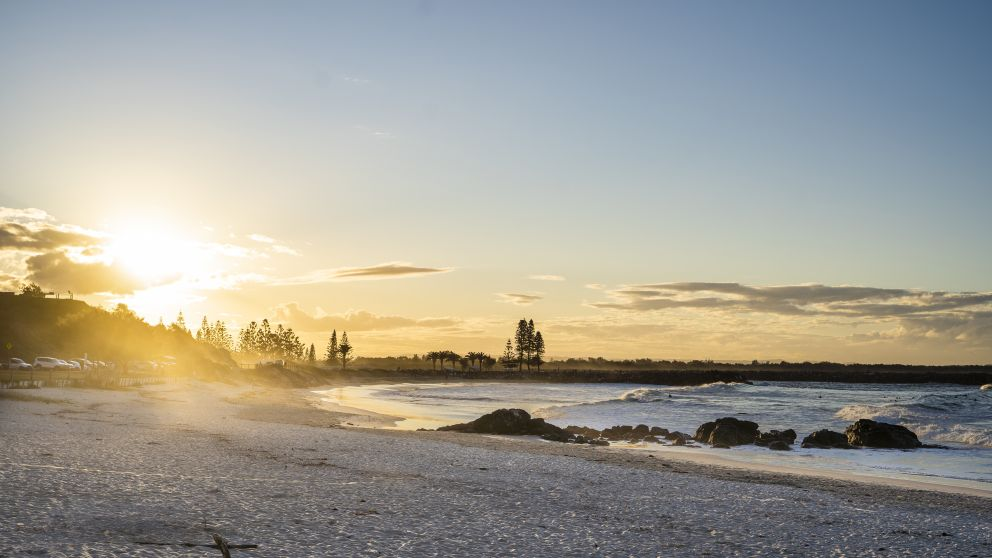 Sun setting over Town Beach in Port Macquarie, North Coast