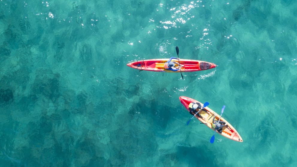 Aerial over a guided kayak tour with Go Sea Kayak, Byron Bay