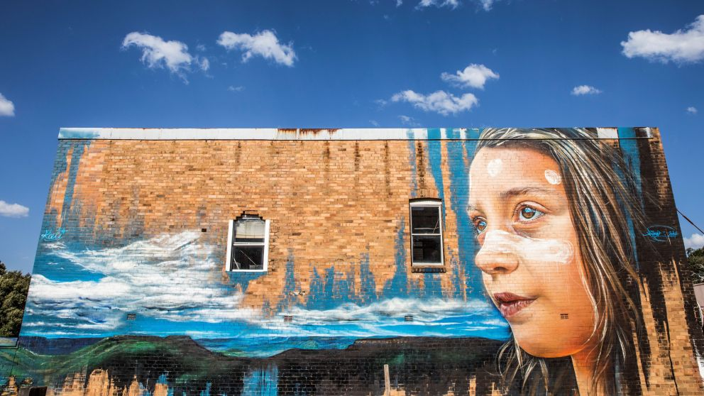 Street art adorning buildings in Katoomba, Blue Mountains