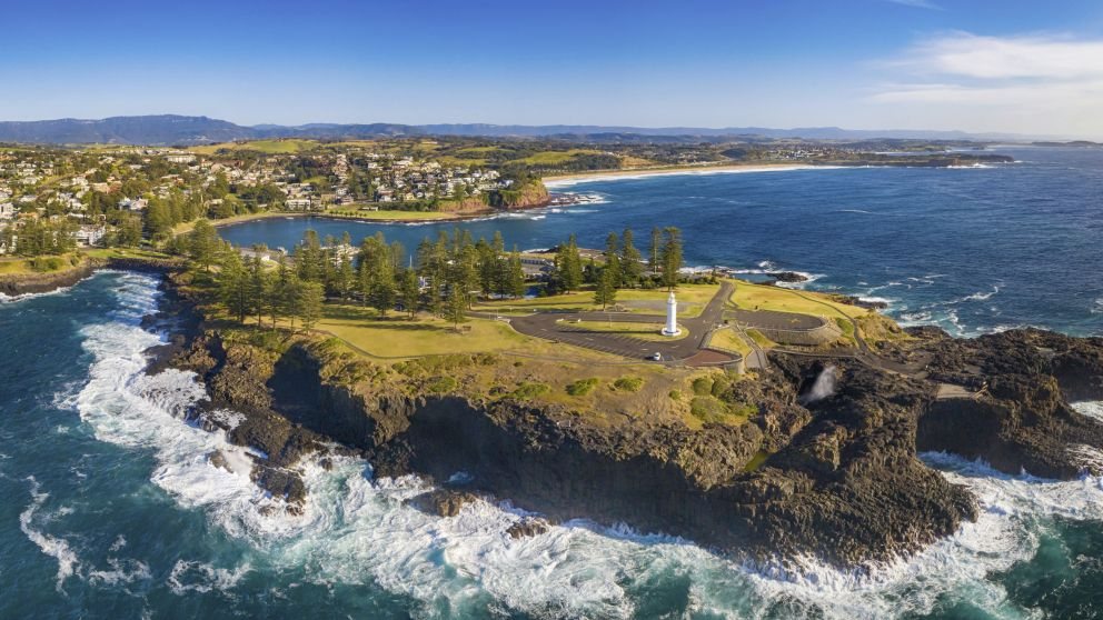 Aerial overlooking Kiama Blowhole Point, Kiama, South Coast