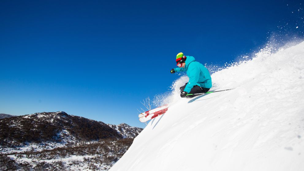 Skier in Smiggins Hole, Perisher in the Snowy Mountains