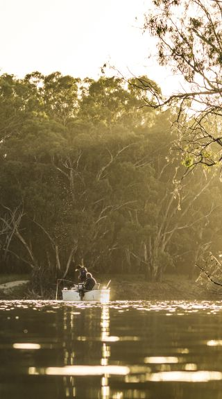 Men enjoying a day of fishing on the Edward River, Deniliquin, The Murray