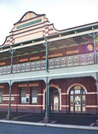 Exterior view of the two-storey Broadway Museum in Junee, NSW