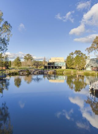 Wollundry Lagoon, looking towards the Civic Theatre, Wagga Wagga