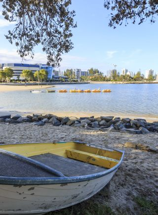 Paddleboats on Jack Evans Boat Harbour along the Tweed River, Tweed Heads