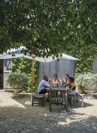 Friends enjoying a lunch and wine at Krinklewood Biodynamic Winery, Broke in the Hunter Valley