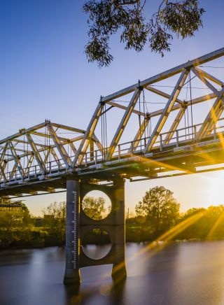 The Morpeth Bridge over the scenic Hunter River in Morpeth, Hunter Valley