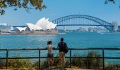 Couple enjoying scenic views of Sydney Harbour from Mrs Macquaries Point