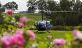 Helicopter outside Twine Restaurant - Hunter Valley
