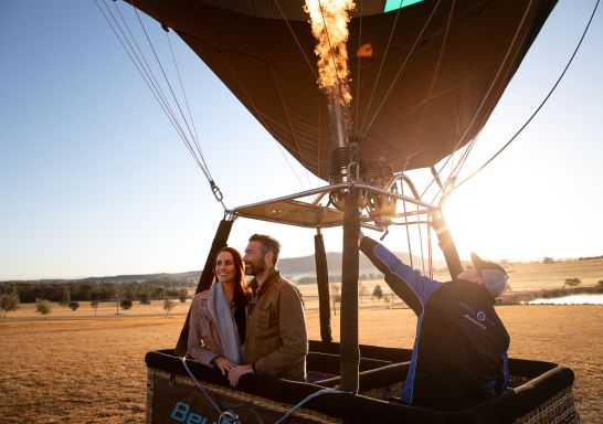 Couple in the hot air balloon ready for take off, Hunter Valley