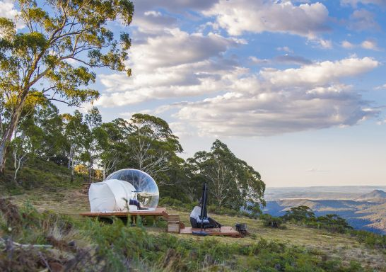 The Virgo Bubbletent located halfway between Lithgow and Mudgee