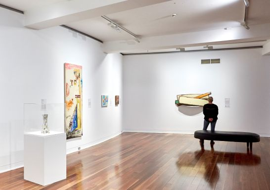 Visitor enjoying the artwork on exhibition at the Wollongong Art Gallery, Illawarra, South Coast