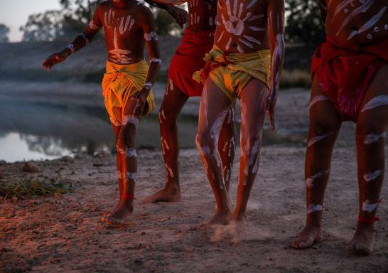 Men from the Barkindji Nation dancing besides the Darling River, Wilcannia, Outback